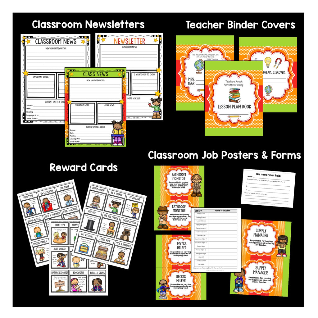 Orange, Red, and Lime Green Classroom Decor Pack #1: Everything You Need to Set up Your Classroom