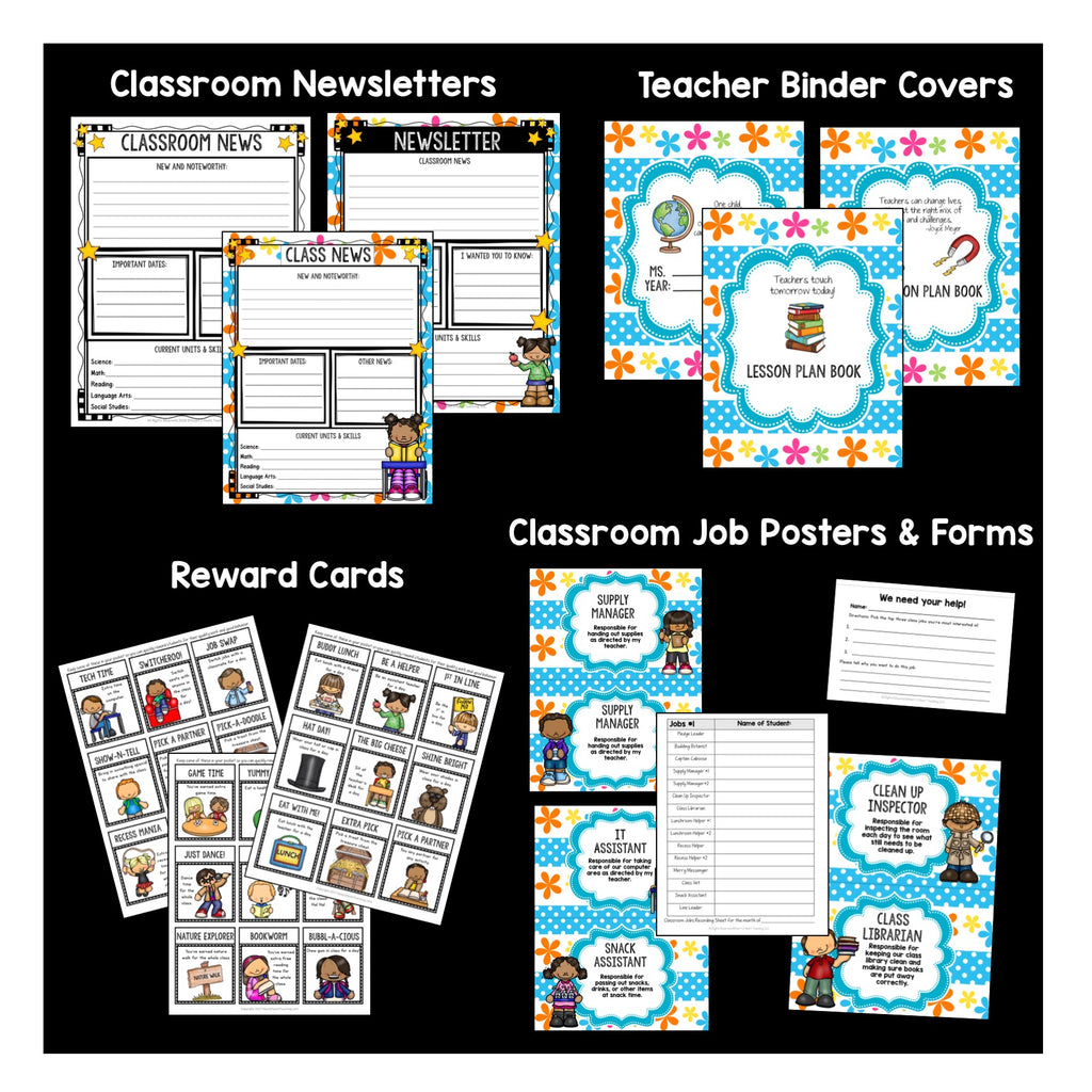 Blue, Pink, and Orange Flowers Classroom Decor Pack #10: Everything You Need to Set up Your Classroom