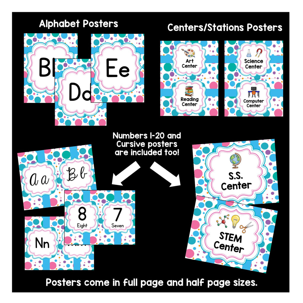 Blue and Pink Large Polka Dots Designed Classroom Decor Pack #9: Everything You Need to Set up Your Classroom