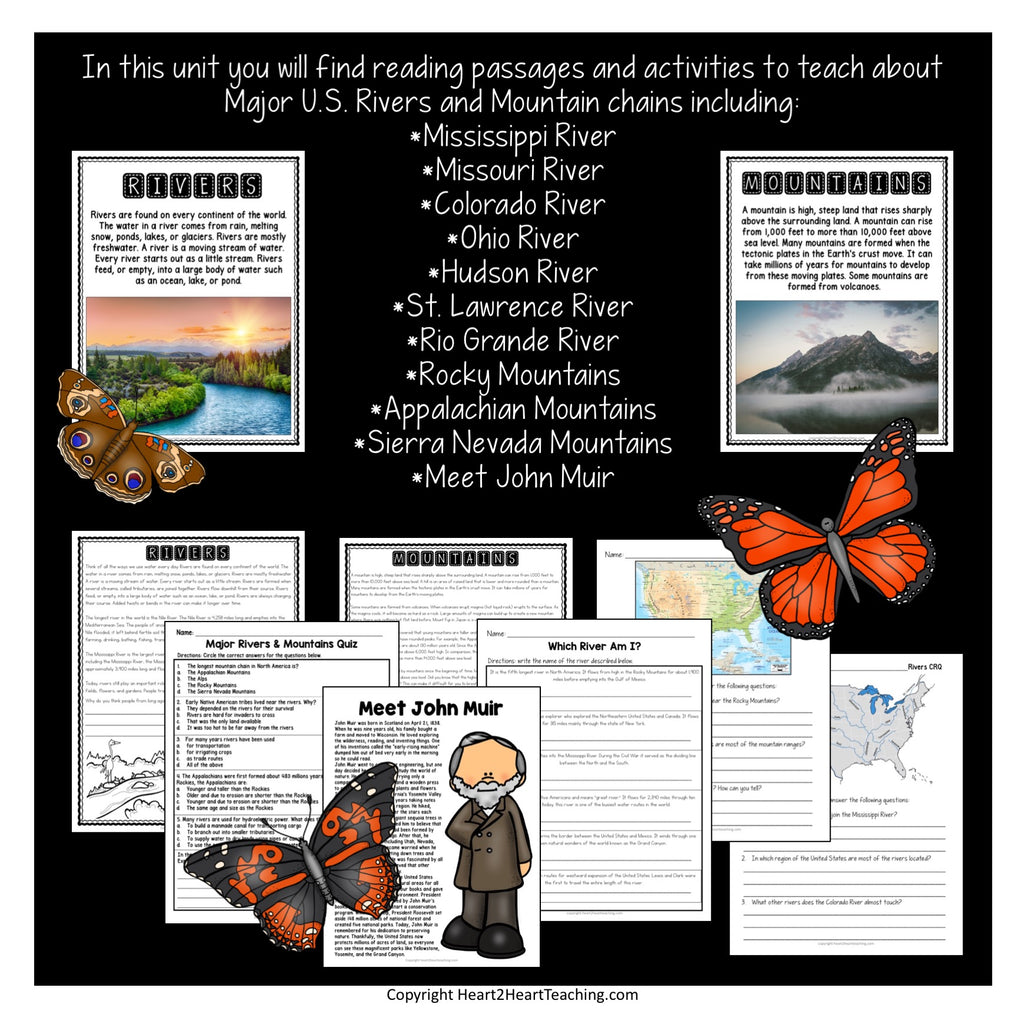 U.S. Major Rivers & Mountains Activity Pack