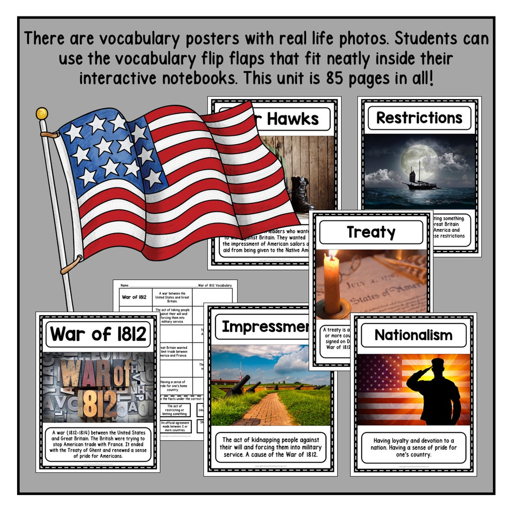 War of 1812 Activity Pack with James Madison, Dolley Madison, & Andrew Jackson
