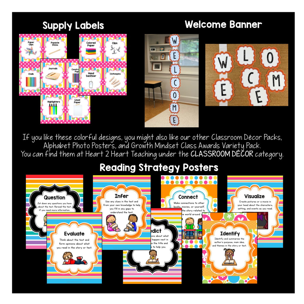 Pink Stripes and Polka Dots Classroom Decor Pack #8: Everything You Need to Set up Your Classroom