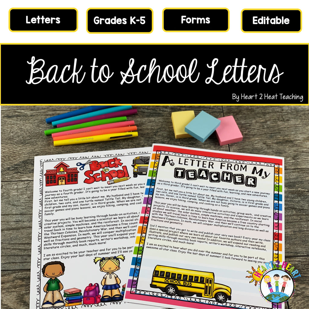 Welcome Back to School Letters for Students and Parents (Editable)