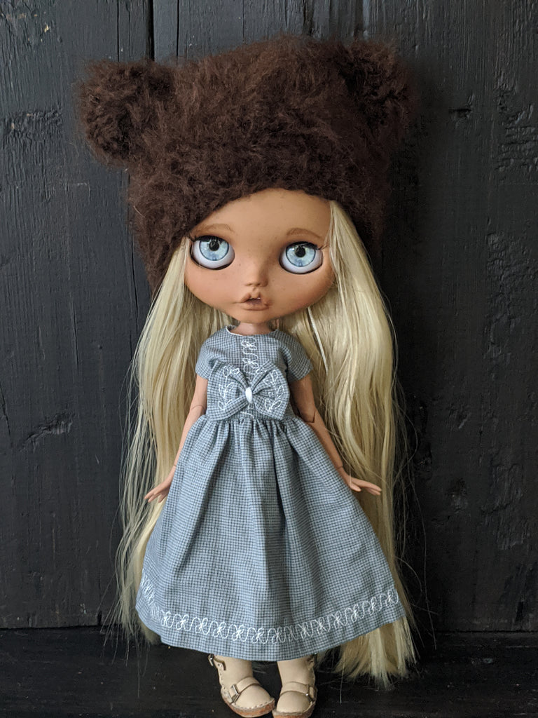 Blythe Doll Dress and Bear Hat Set