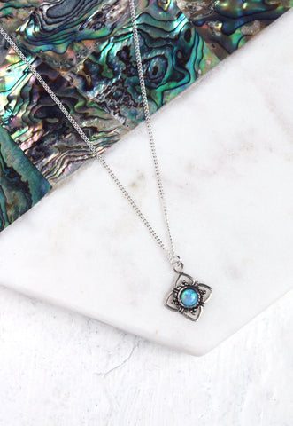 KATHIA. Sterling Silver Fire Opal Pendant Necklace