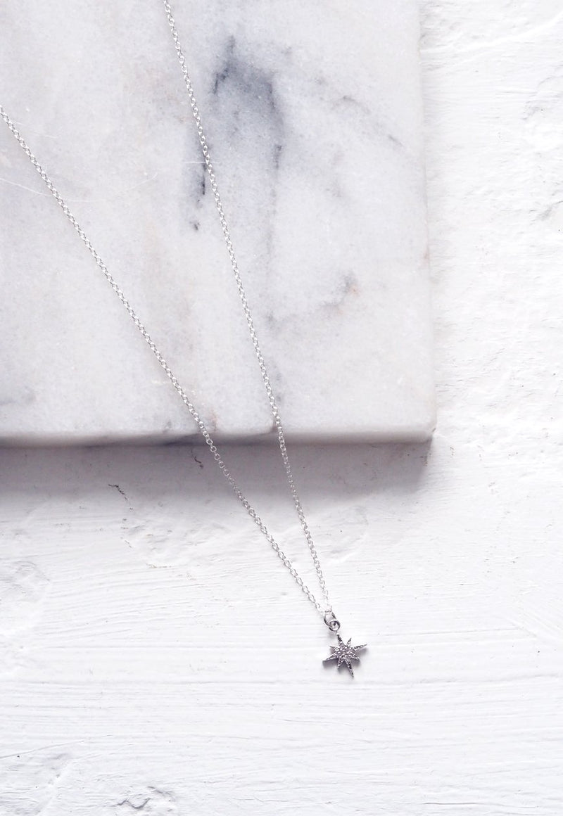 LAYLA. Delicate Silver North Star Pendant Necklace