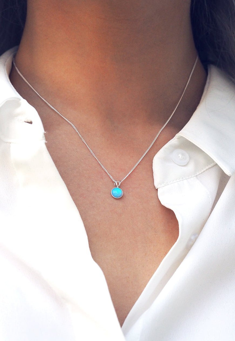 KATHIA. Bridesmaid Sterling Silver Blue Opal Pendant Necklace