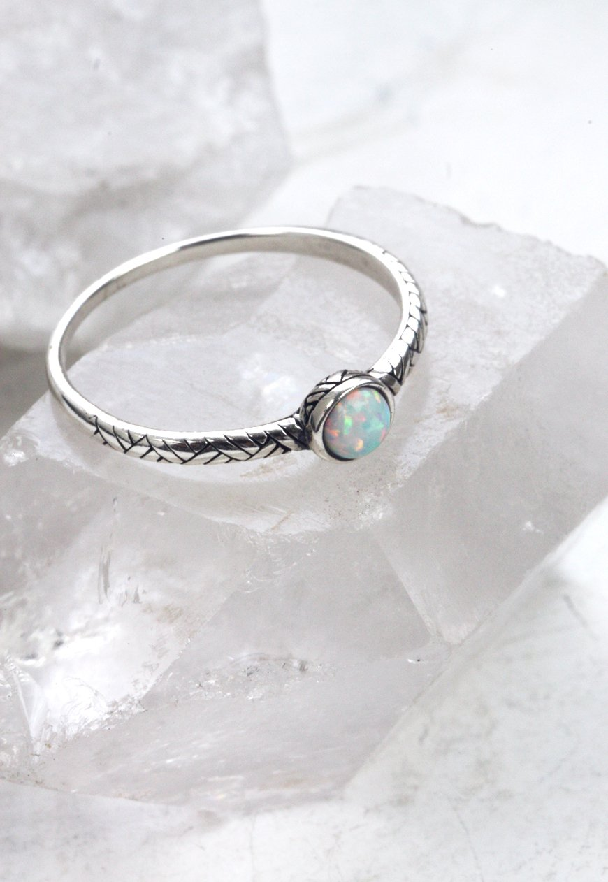 MAE. Delicate Sterling Silver White Opal Ring
