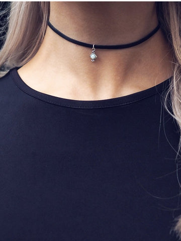 AVA. Opal Black Suede Choker Necklace