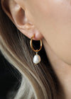 ANYA. Gold Pearl Hoop Earrings