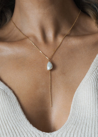 ALUNA. June Moonstone Birthstone Sterling Silver Necklace