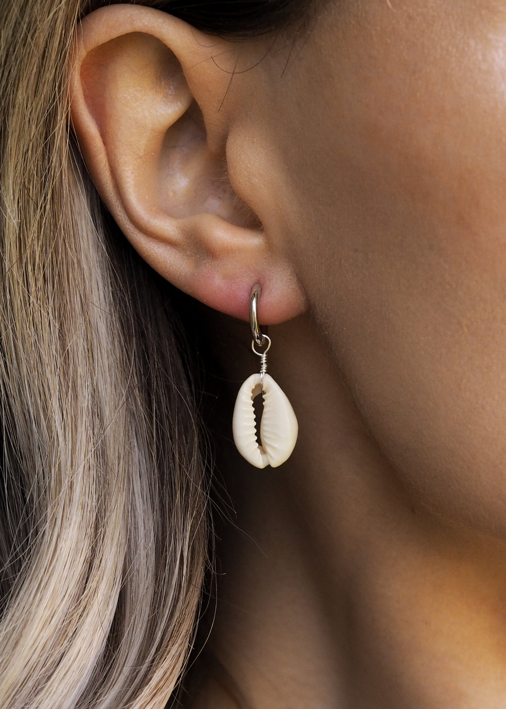 CASA. Cowrie Shell Hoop Earrings in Sterling Silver