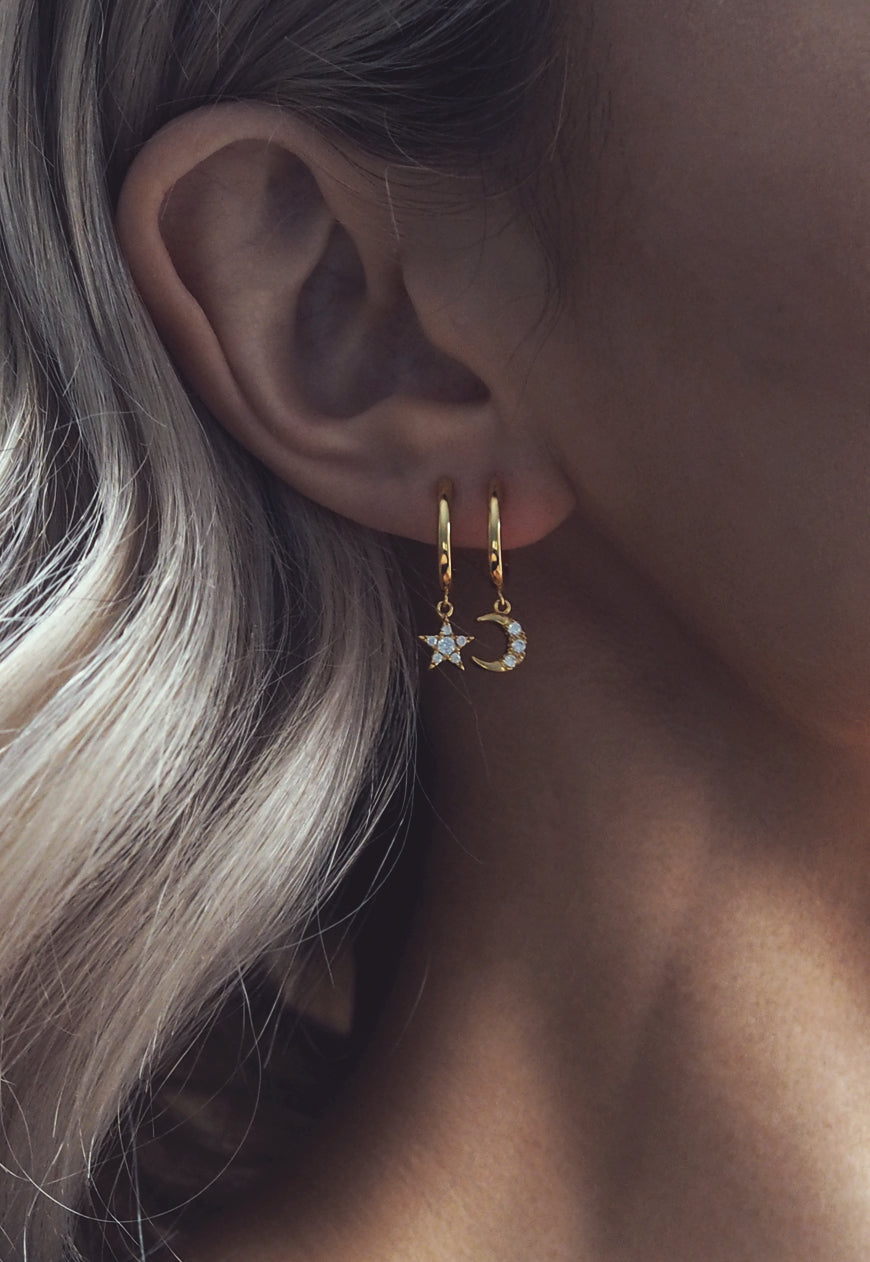 ERIKA. Gold Moon And Star Hoop Earrings