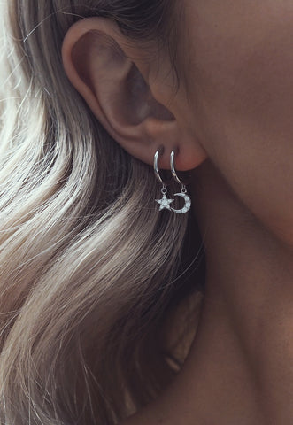 FREJA. Sterling Silver Mini Dagger Hoops