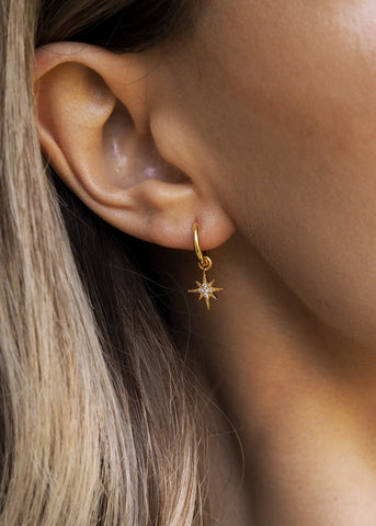 ELSA. Bridesmaid Gold Pavé Star Hoop Earrings