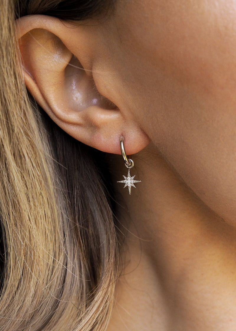 ELSA.  Bridesmaid Sterling Silver Pavé Star Hoop Earrings