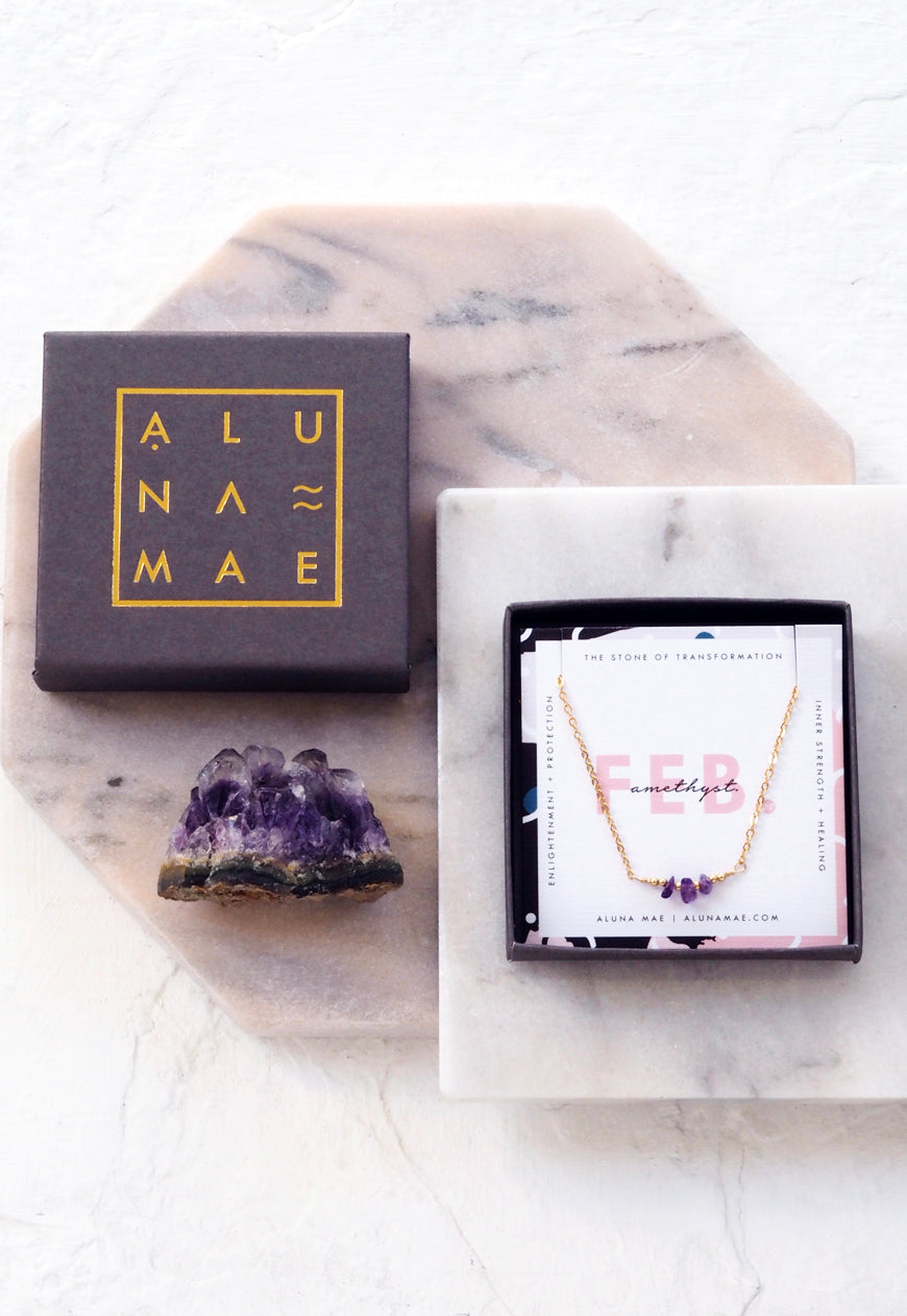 ALUNA. February Amethyst Birthstone Gold Filled Necklace