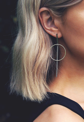 ERIKA. Sterling Silver Moon And Star Hoop Earrings