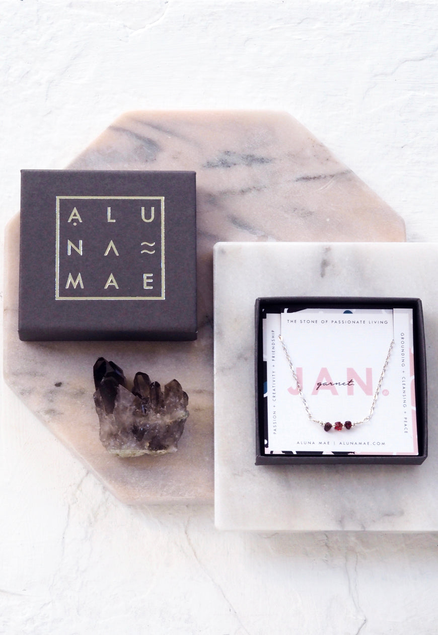 ALUNA. January Garnet Birthstone Sterling Silver Necklace
