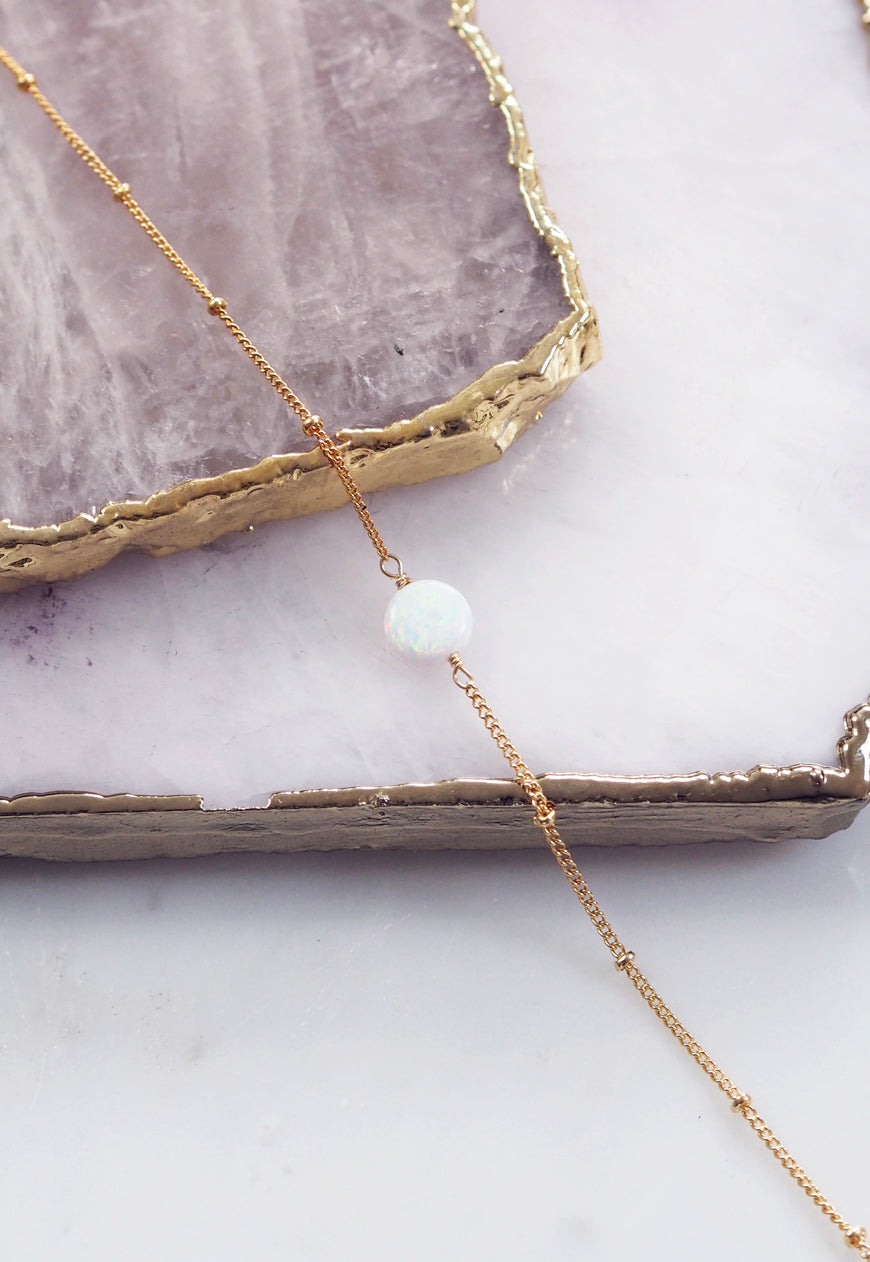 LENA. White Opal Gold Filled Bracelet