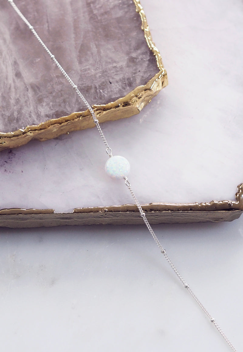 LENA. White Opal Sterling Silver Necklace