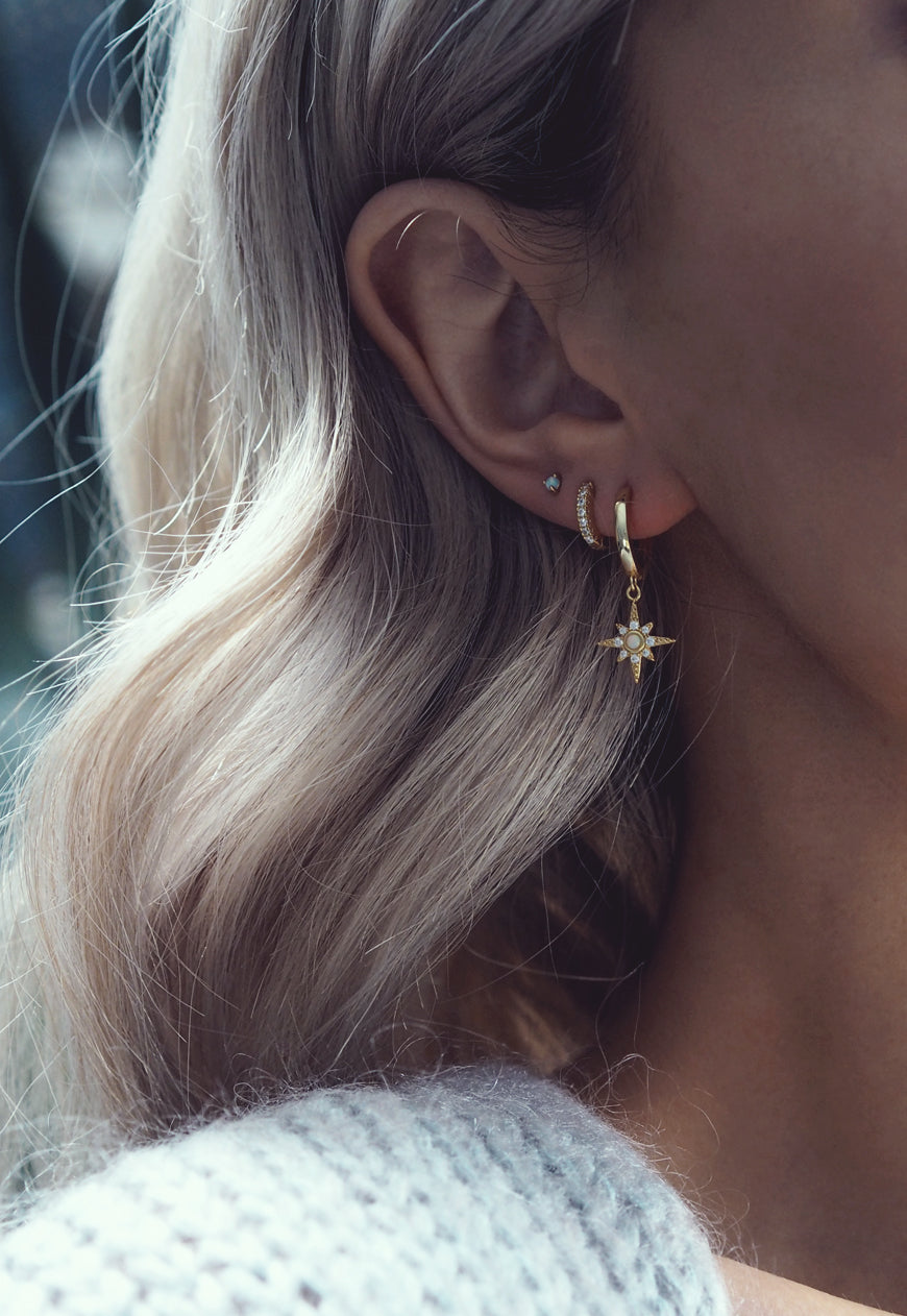 LULIA. Gold Opal Star Hoop Earrings