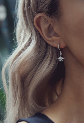 ELSA. Sterling Silver Pavé Star Hoop Earrings