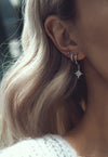 LULIA. Sterling Silver Opal Star Hoop Earrings