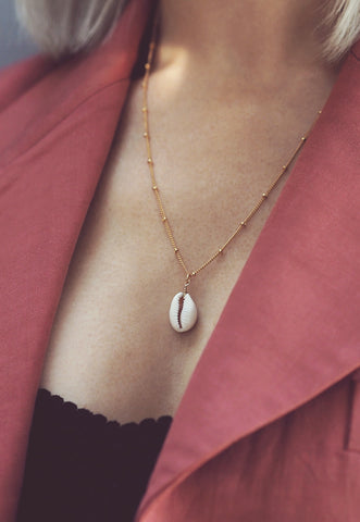 ALUNA. July Ruby Birthstone Gold Filled Necklace
