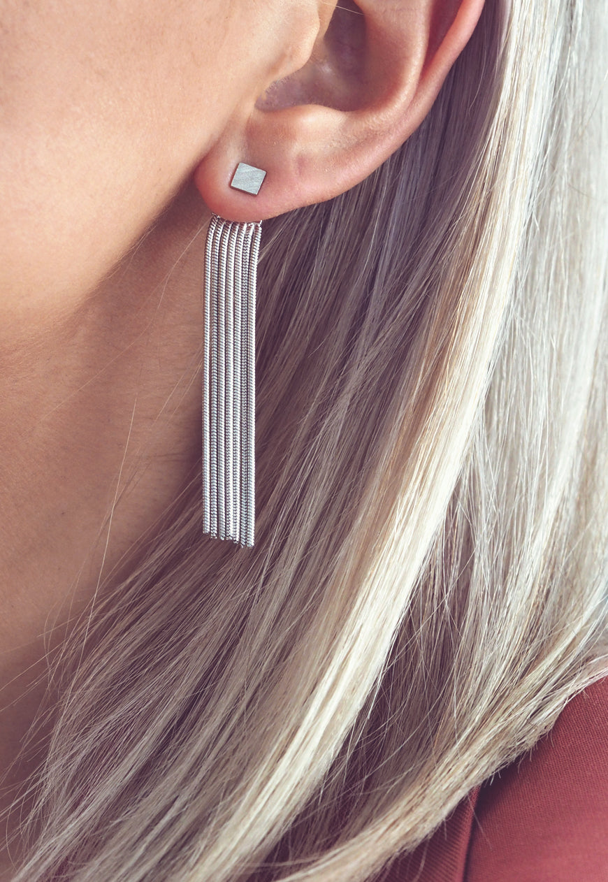 SEIENA. Silver Chain Tassel Drop Earrings