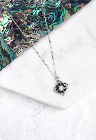 KATHIA. Sterling Silver White Opal Pendant Necklace