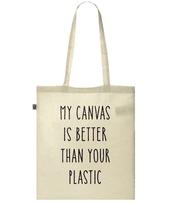 My Canvas is Better than Your Plastic Organic 100% Cotton Tote Bag
