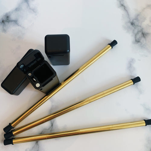 Limited Edition BLACK and GOLD Folding Metal Straw