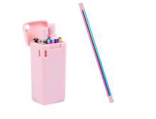 Load image into Gallery viewer, Limited Edition PINK Rainbow Folding Metal Straw