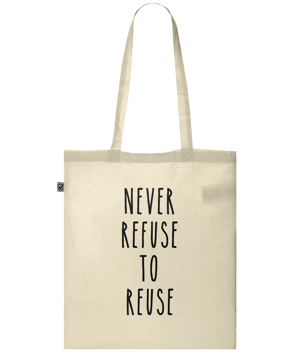 Never Refuse to Reuse Organic 100% Cotton Tote Bag