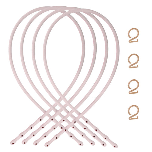 Petal Pink-Rose Gold_ Bra straps set 4 pink silicone adjustable straps & 4 rose gold hooks Brappz USA Canada SKU# 7640174311552 brappz.co Brappz multi-purpose silicone jewelry USA
