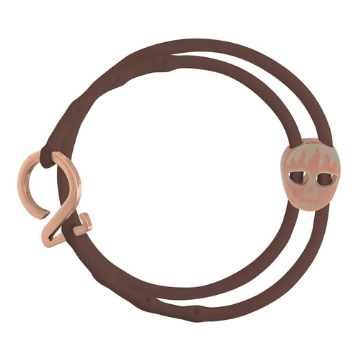 Rose Gold_Charm bracelet set 1 brown 1 black silicone adjustable straps & 1 rose gold hook & 1 copper luchador mask charm Brappz USA Canada SKU# 7640174312108 brappz.co Brappz multi-purpose silicone jewelry USA