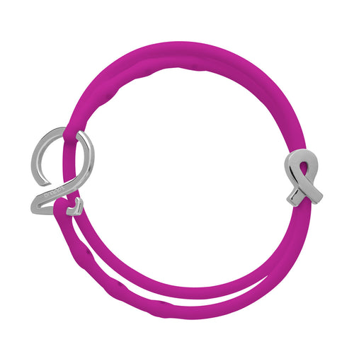 Pink Set-Silver_Cancer bracelet set 1 fuchsia pink 1 pink silicone adjustable straps & 1 silver hook & 1 silver cancer support ribbon charm Brappz USA Canada SKU# 7640174312191 brappz.co Brappz multi-purpose silicone jewelry USA