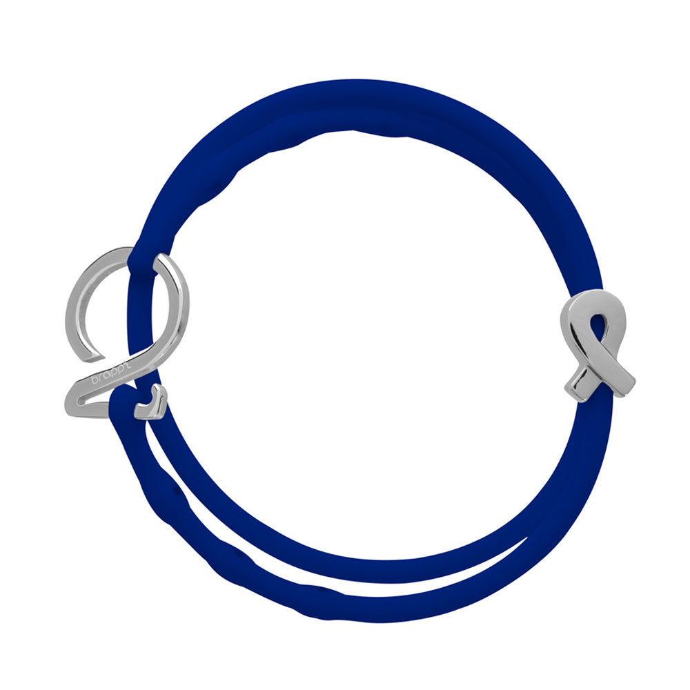 Blue Set-Silver_Cancer bracelet set 1 baby  blue 1 lapis blue silicone adjustable straps & 1 silver hook & 1 silver cancer support ribbon charm Brappz USA Canada SKU# 7640174311897 brappz.co Brappz multi-purpose silicone jewelry USA