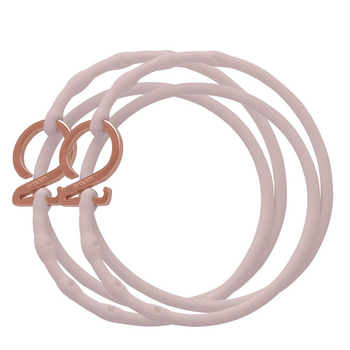 Petal Pink-Rose Gold_Charm bracelet set 2 pink silicone adjustable straps & 2 rose gold hooks Brappz USA Canada SKU# 7640174311484 brappz.co Brappz multi-purpose silicone jewelry USA