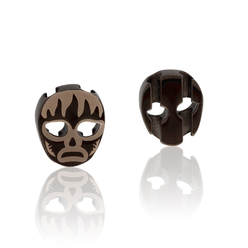Charm black stainless steel luchador mask  USA Canada SKU# 7640174311248  brappz.co Brappz multi-purpose silicone jewelry USA