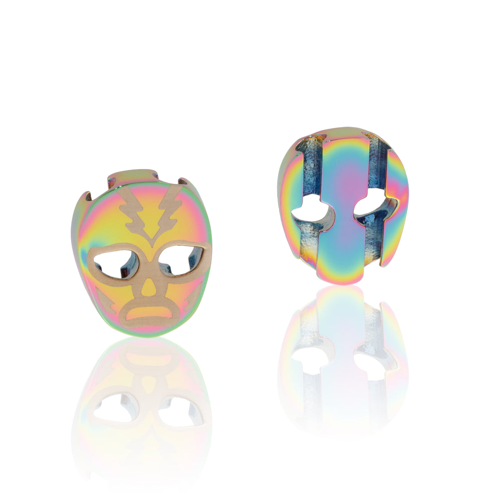 Charm iridescent stainless steel luchador mask Brappz USA Canada SKU# 7640174311255  brappz.co Brappz multi-purpose silicone jewelry USA