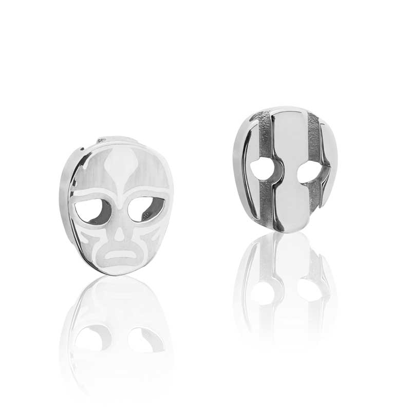 Charm silver stainless steel luchador mask  Brappz USA Canada SKU# 7640174311279  brappz.co Brappz multi-purpose silicone jewelry USA