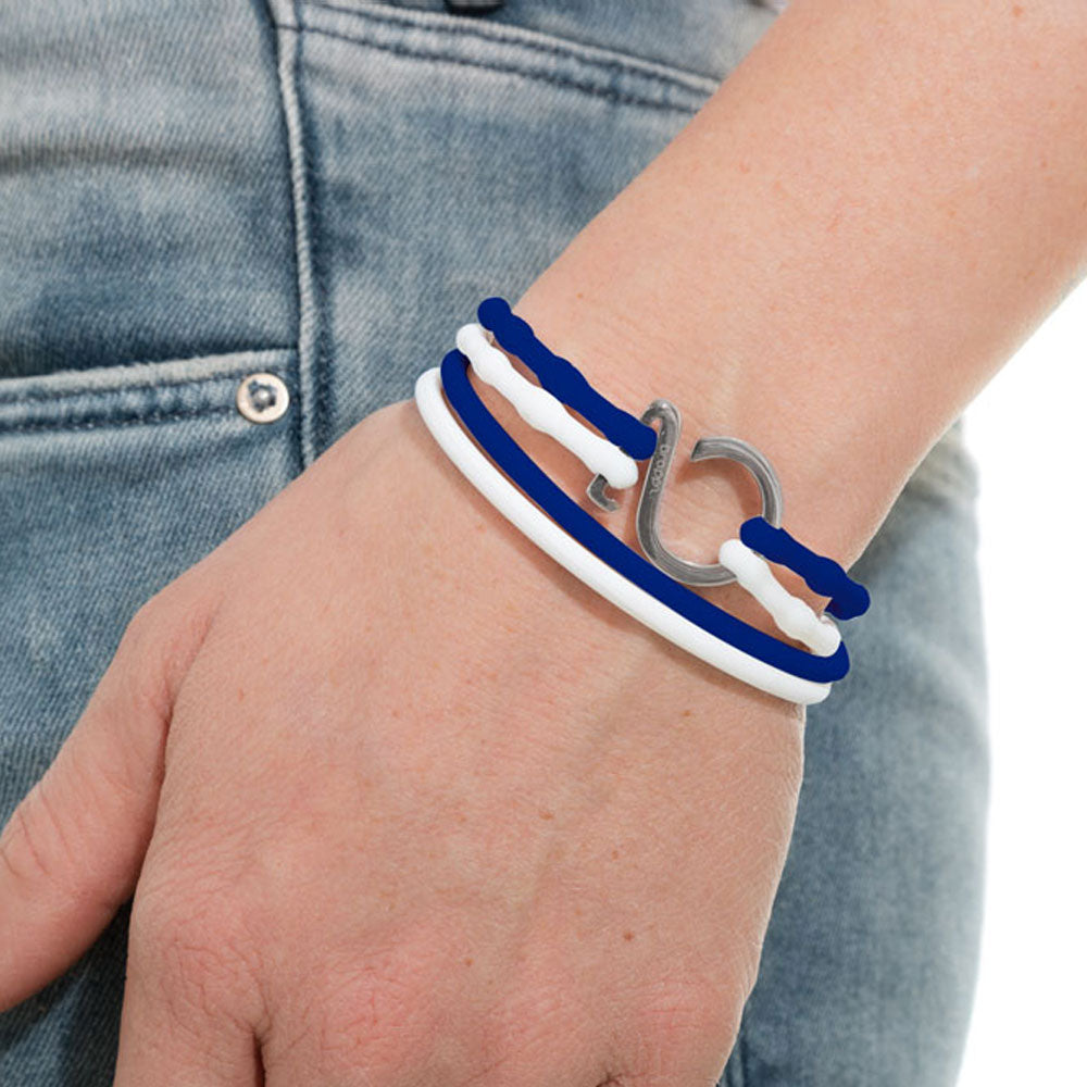 Blue-White-Silver_College bracelet blue white silicone adjustable straps & 1 silver hook Brappz USA Canada SKU# 7640174312016 brappz.co Brappz multi-purpose silicone jewelry USA