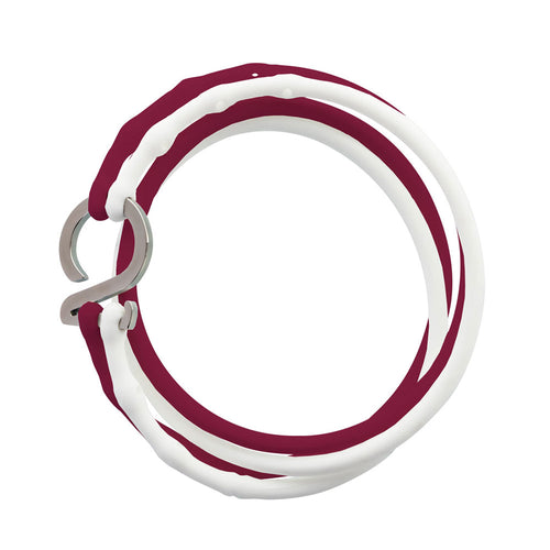 Crimson-White-Silver_College bracelet crimson white silicone adjustable straps & 1 silver hook Brappz USA Canada SKU# 7640174311491 brappz.co Brappz multi-purpose silicone jewelry USA