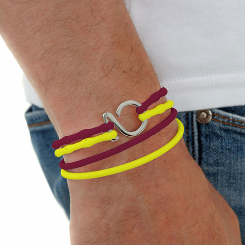 Crimson-Yellow-Silver_College bracelet crimson yellow silicone adjustable straps & 1 silver hook Brappz USA Canada SKU# 7640174311958 brappz.co Brappz multi-purpose silicone jewelry USA