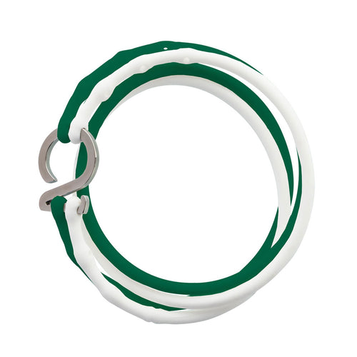 White-Green-Silver_College bracelet white green silicone adjustable straps & 1 silver hook Brappz USA Canada SKU# 7640174311781 brappz.co Brappz multi-purpose silicone jewelry USA