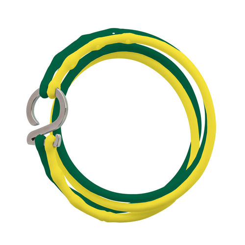 Yellow-Green-Silver_College bracelet yellow green silicone adjustable straps & 1 silver hook Brappz USA Canada SKU# 7640174311798 brappz.co Brappz multi-purpose silicone jewelry USA