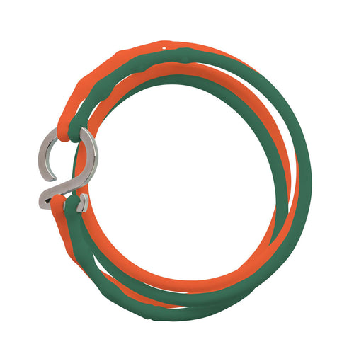 Green-Orange-Silver_College bracelet green orange silicone adjustable straps & 1 silver hook Brappz USA Canada SKU# 7640174311620 brappz.co Brappz multi-purpose silicone jewelry USA