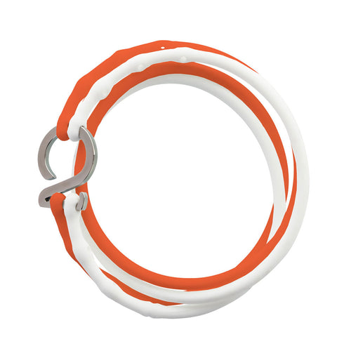 White-Orange-Silver_College bracelet white orange silicone adjustable straps & 1 silver hook Brappz USA Canada SKU# 7640174311774 brappz.co Brappz multi-purpose silicone jewelry USA